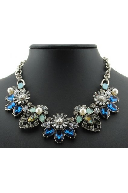 Deep Blue Gems Flower Bohemia Vintage Silver Chain Punk Rock Necklace Exotic