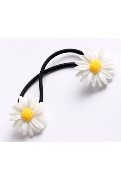 White Yellow Double Camomile Sunflowers Flowers Rubber Hair Band