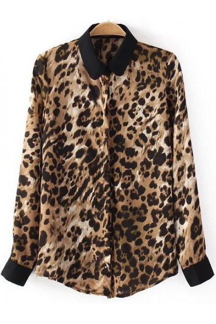 Brown Leopard Wild Animals Long Sleeves Shirt Blouse