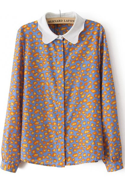 ​Yellow Blue Leopard White Peter Pan Collars Long Sleeves Shirt Blouse