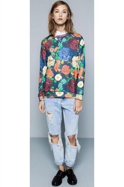 Blue Red Colorful Roses Flower Petals Long Sleeves Winter Sweatshirt Sweater