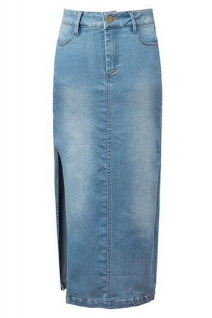 Denim Blue Jeans High Waist Vintage Side Slit Sexy Long Skirt Dress