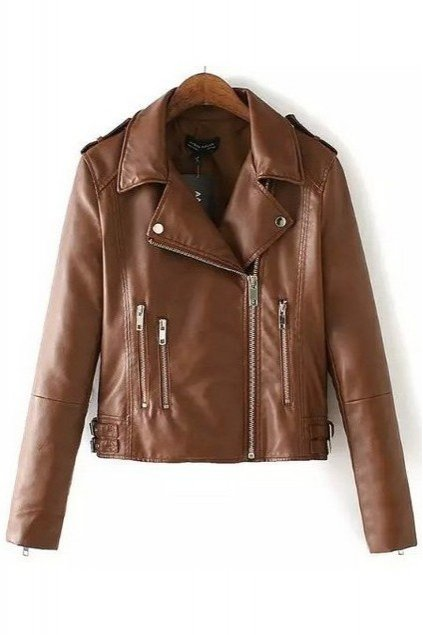 Brown Black Faux Leather PU Cropped Zipper Rider Jacket