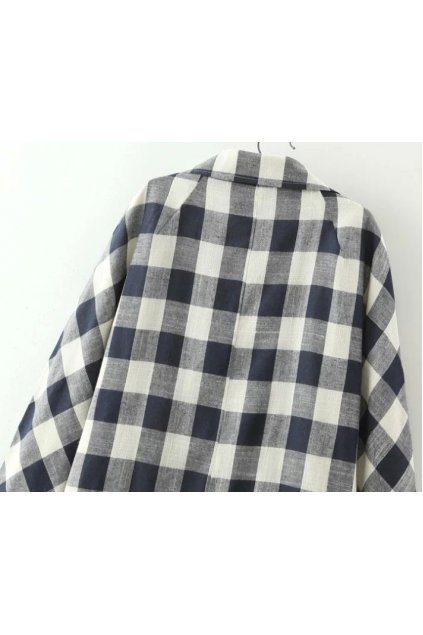 Black White Checkers Chessboard Long Sleeves Cotton Jacket Blazer Coat