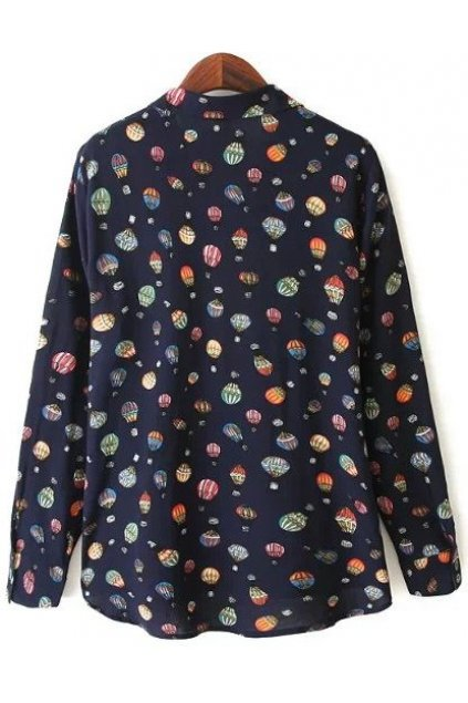 Dark Navy Blue Colorful Hot Air Balloons Monogram Cotton Long Sleeves Shirt Blouse