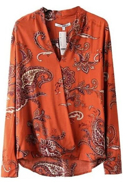 ​Orange Antique Vintage Retro Paisley Pattern Long Sleeves Warp Blouse Shirt