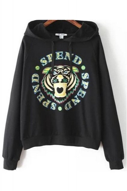 Black Red Fierce Tiger Hooded Long Sleeves Winter Sweatshirt Sweater