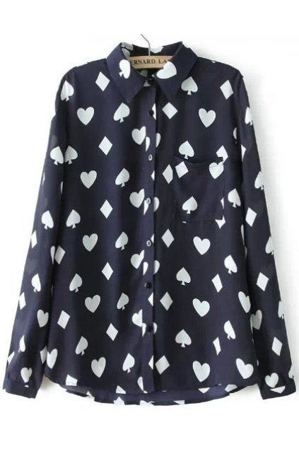 Black White Poker Clubs Spades Hearts Diamonds Monogram Cotton Long Sleeves Shirt Blouse