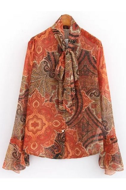 ​Orange Antique Vintage Retro Paisley Pattern Chiffon Long Sleeves Bow Blouse Shirt