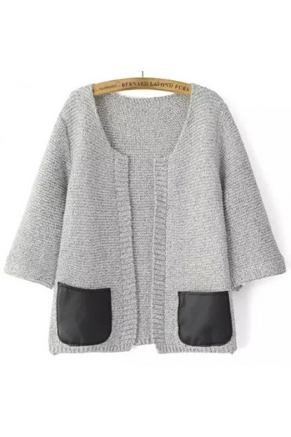 Knit PU Faux Leather Pocket 3/4 Sleeves Blouse Cardigan