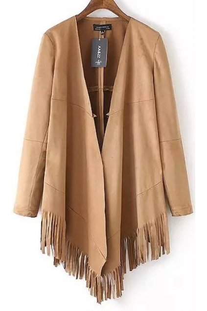 Brown Black Faux Suede Leather PU Fringes Long Sleeves Cape Knee Coat Jacket Blazer