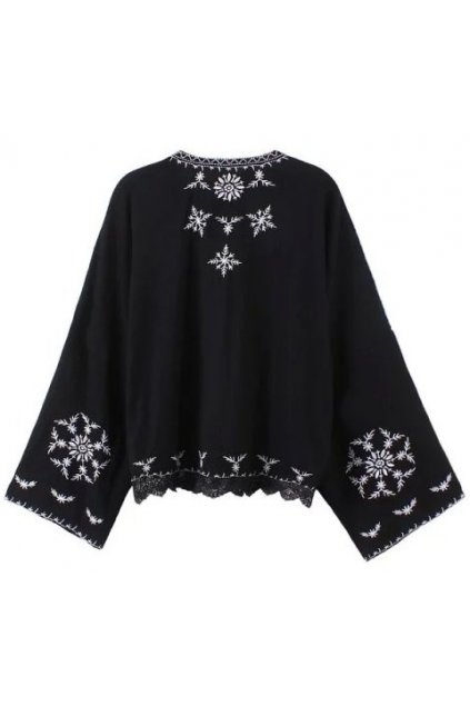 Black White Embroidery Retro Vintage Kimono Cardigan