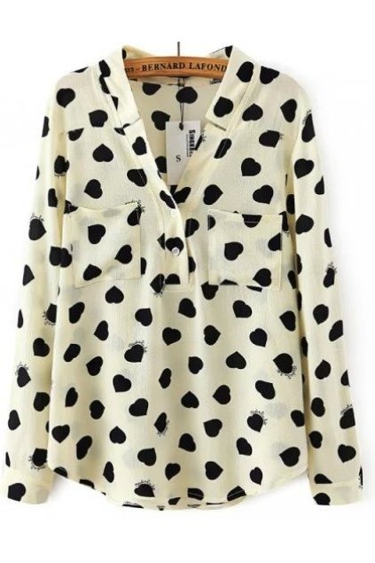 Cream Black Heart Chiffon Long Sleeves Shirt Blouse