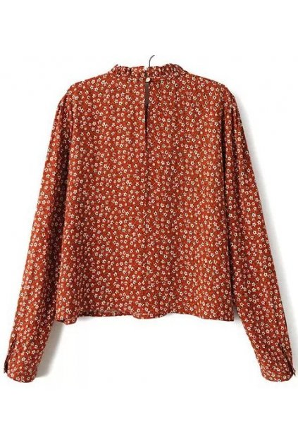 Orange White Little Flowers Floral Long Sleeves Blouse Shirt