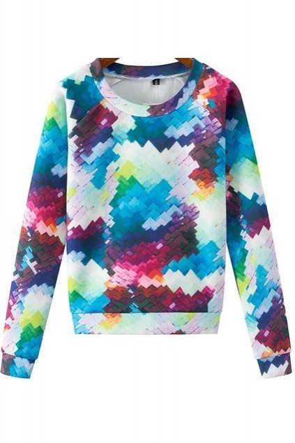 White Abstract 3D Printed Puzzle Long Sleeves Winter Sweatshirt Sweater