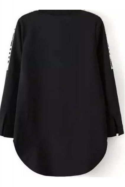 Black Abstract Words Long Sleeves Winter Sweatshirt Sweater