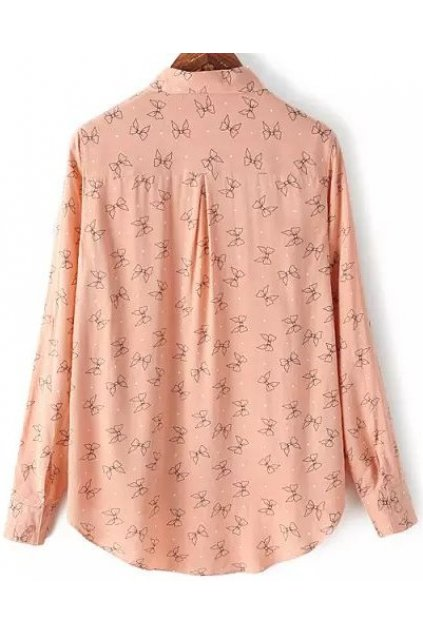 Pink Ribbon Monogram Cotton Long Sleeves Shirt Blouse