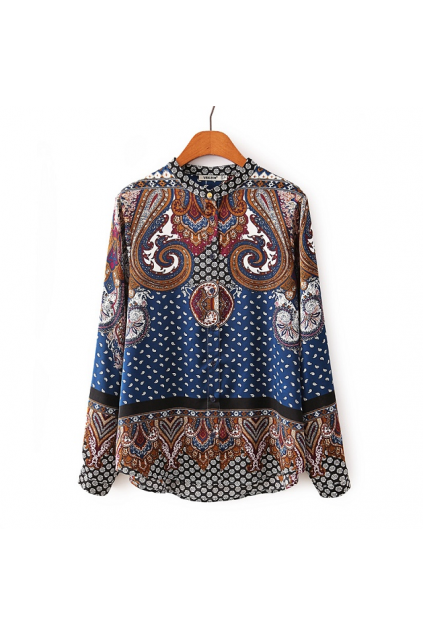 Antique Paisley Retro Pattern Chiffon Satin Long Sleeves Shirt Blouse