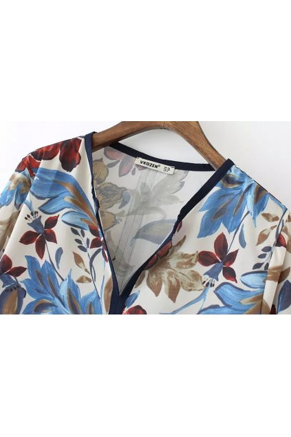 White Blue Vintage Flower Chiffon Long Sleeves Shirt Blouse
