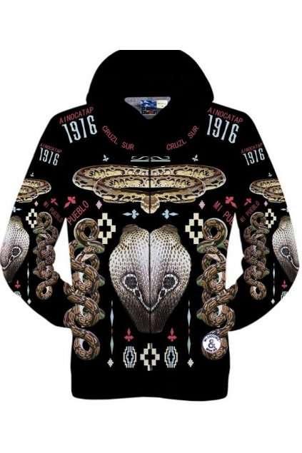 Black King Cobra Snake Long Sleeves Mens Jacket Hooded Hoodies