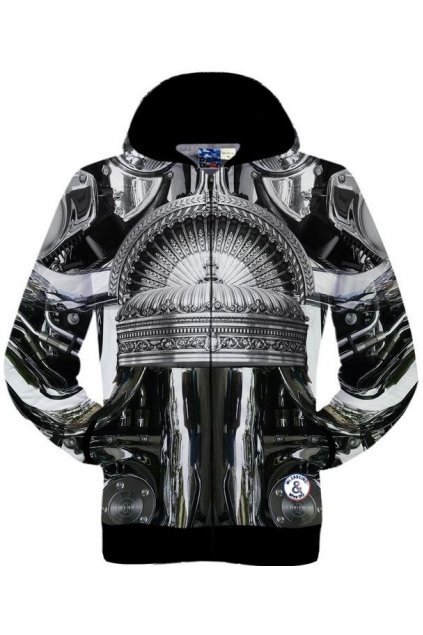 Black Silver Crown Gothic Long Sleeves Mens Jacket Hooded Hoodies