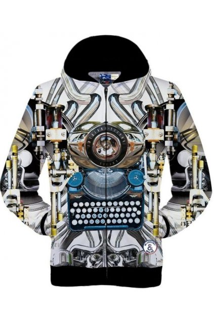 White Futuristic Typewriter Mechanical Machine Long Sleeves Mens Jacket Hooded Hoodies