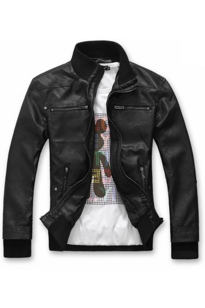 ​Black Hooded Hoodie Faux Leather PU Mens Rider Aviator Baseball Cropped Coat Jacket