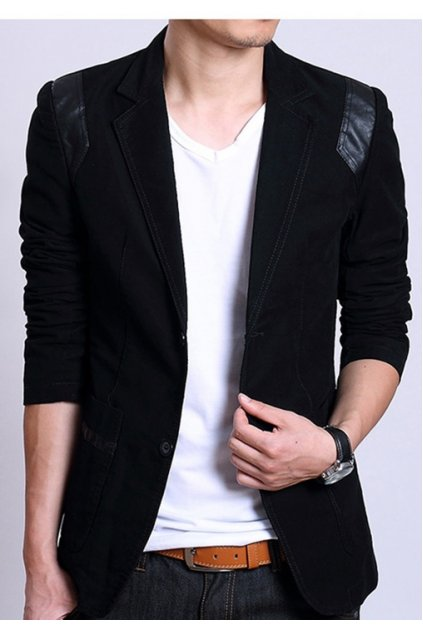 Black Canvas Casual PU Faux Leather Mens Dapper Man Long Sleeves Blazer Jacket
