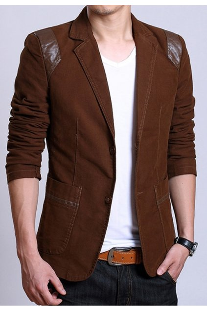 Brown Canvas Casual PU Faux Leather Mens Dapper Man Long Sleeves Blazer Jacket
