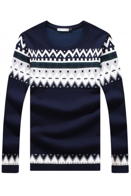 Beige Blue Tribal Retro Pattern Long Sleeves Men Knit Long Sleeves Sweater