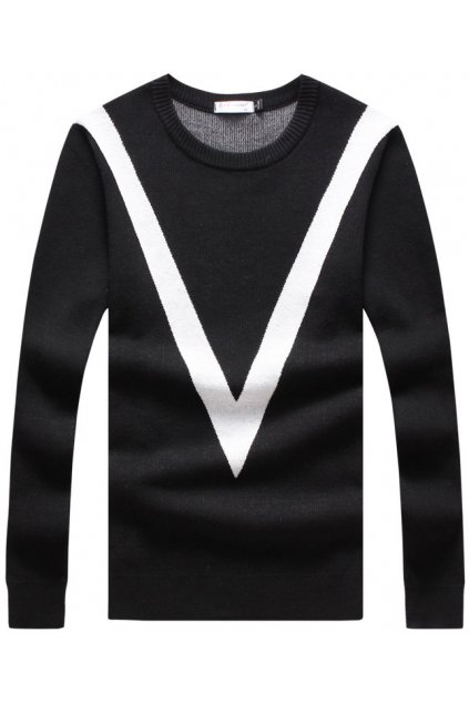 ​Black White Giant V Long Sleeves Men Knit Long Sleeves Sweater