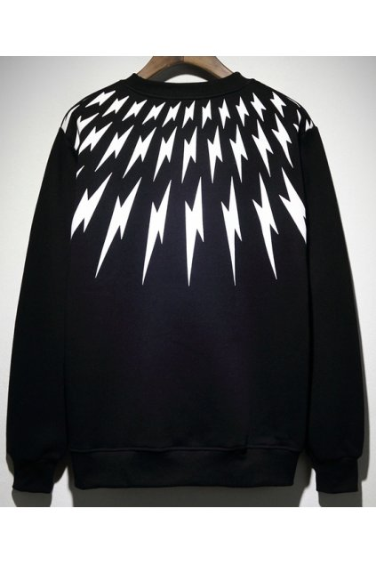 ​​Black White Multiple Thunders Long Sleeves Mens Sweater Sweatshirt