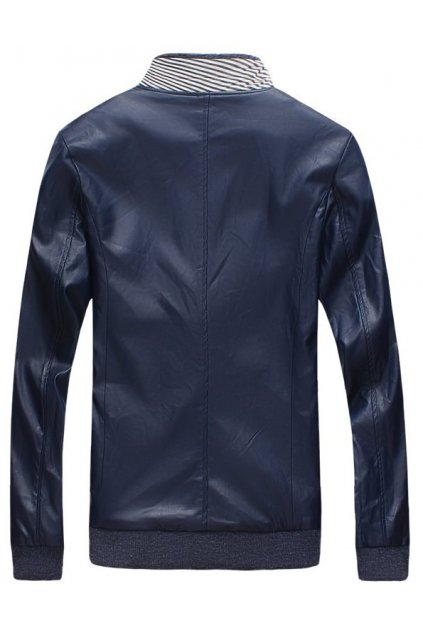 Blue Faux Leather Standing Collar PU Mens Rider Aviator Baseball Cropped Coat Jacket