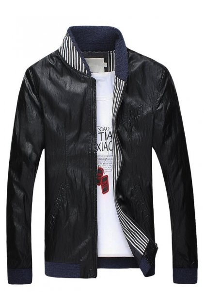 Black Faux Leather Standing Collar PU Mens Rider Aviator Baseball Cropped Coat Jacket