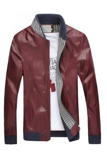 Burgundy Faux Leather Standing Collar PU Mens Rider Aviator Baseball Cropped Coat Jacket