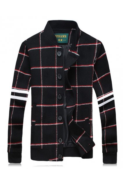 Blue Black Checkers Classy Mens Woolen Aviator Baseball Jacket Cardigan Coat