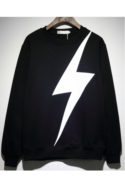 ​Black White Giant Thunder Long Sleeves Mens Sweater Sweatshirt