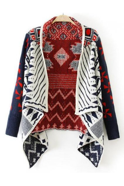 Blue Red Tribal Ethnic Pattern Long Sleeves Blouse Cardigan