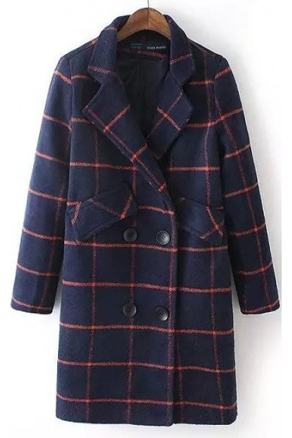 Blue Red Checkers Plaid Tartan Long Sleeves Woolen Jacket Blazer Coat