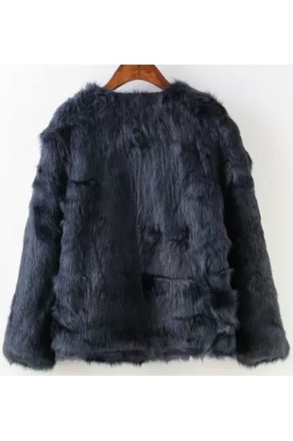Black Faux Leather Fur Furry Eskimo Yeti Jacket Mink Coat