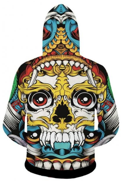 Colorful Maya Tribal Six Eyes Skulls Totem Long Sleeves Mens Jacket Hooded Hoodie