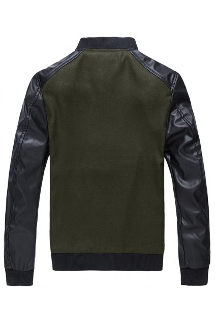 Black Green Faux Leather PU Mens Woolen Aviator Rider Baseball Jacket Cardigan Coat