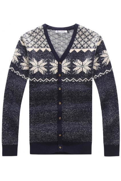 Snowflakes Grey Long Sleeves Men Knot Long Sleeves Sweater Cardigan