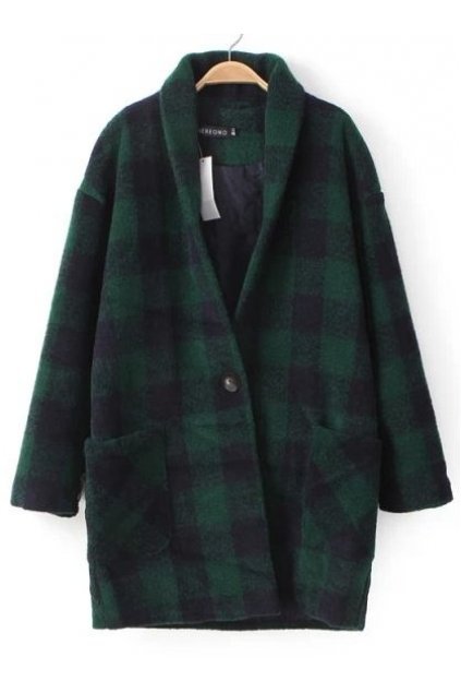 Green Red Black Checkers Plaid Tartan Long Sleeves Woolen Jacket Blazer Coat