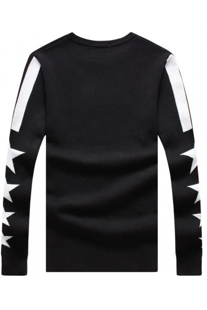 Black 17 Stars New York Long Sleeves Men Knit Long Sleeves Sweater