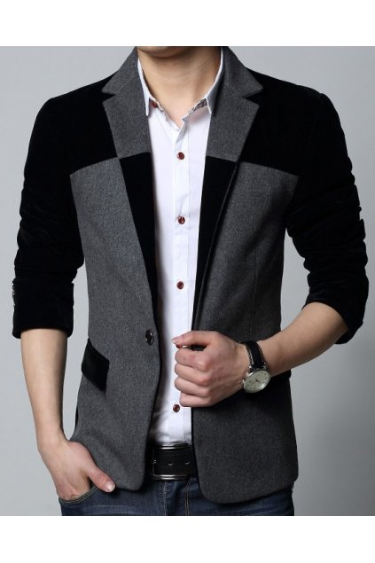 Grey Black Woolen Velvet Mens Dapper Man Long Sleeves Blazer Jacket