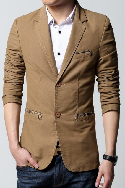 ​Brown Beige Canvas Casual Mens Dapper Man Long Sleeves Blazer Jacket