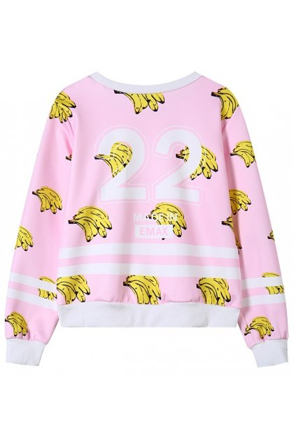 Pink Yellow Bananas Monogram Long Sleeves Sweatshirt Sweater