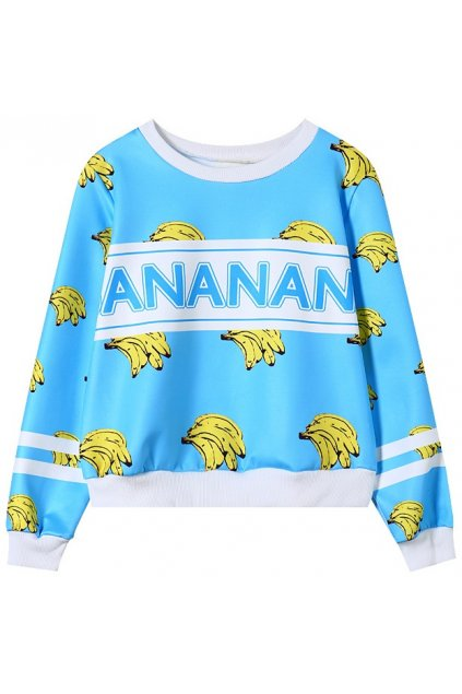 Blue Yellow Bananas Monogram Long Sleeves Sweatshirt Sweater