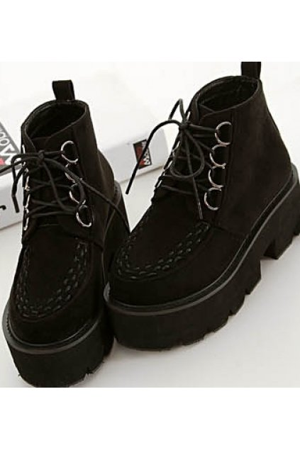 Black Suede Lace Up Punk Stitches Thick Sole Military Women Boots Platforms Shoes